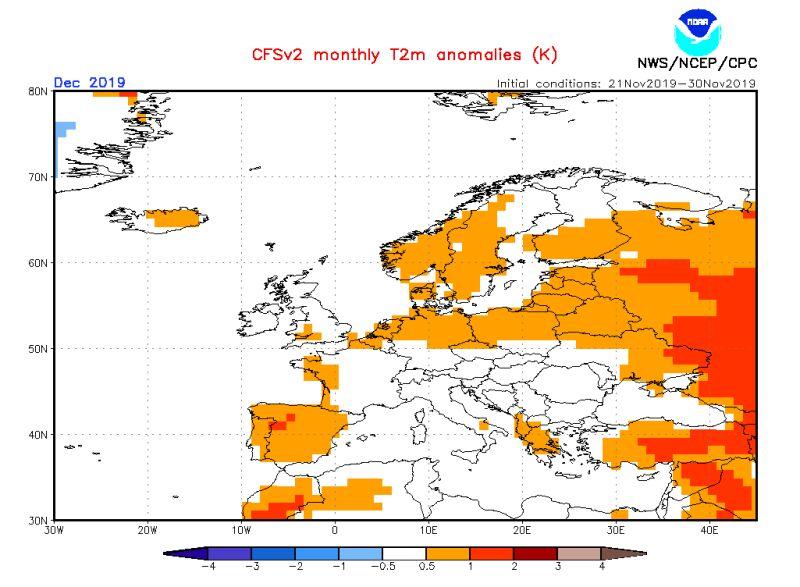 Prognozowana anomalia temperatury w grudniu 2019 (NOAA)