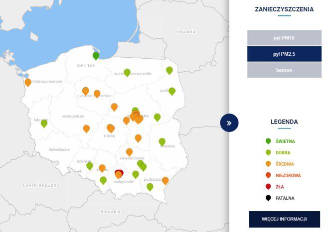 Stężenie pyłu PM2,5 w Polsce po godzinie 6.30