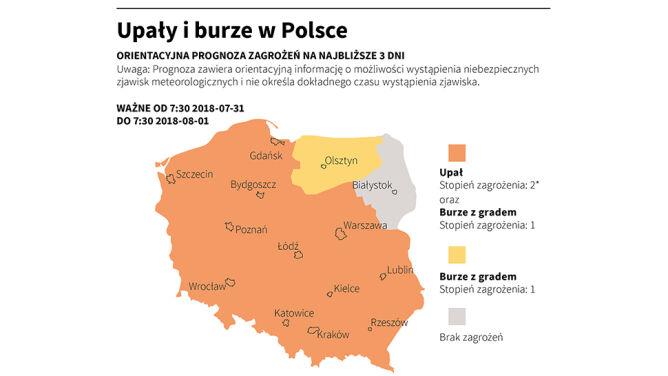 Upały i burze w Polsce (Adam Ziemienowicz/PAP/IMGW)