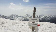 Drogowskaz zanurzony w śniegu