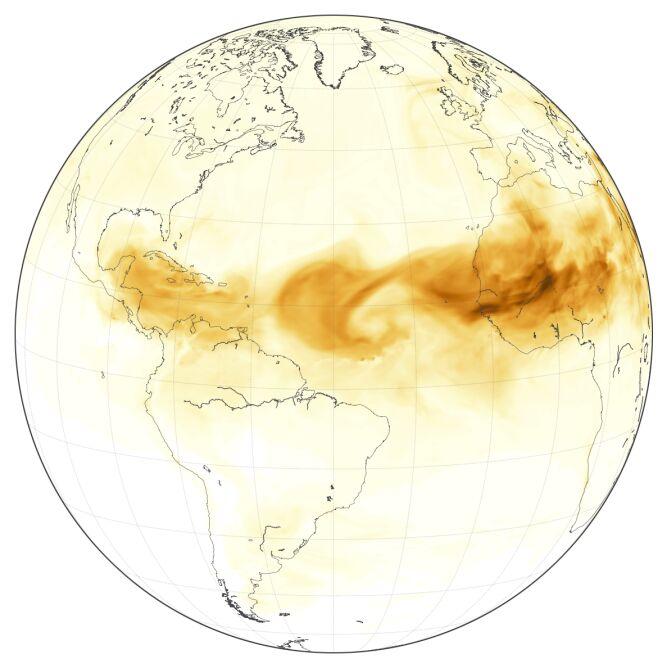 Pył saharyjski na modelu GEOS-5 (Joshua Stevens, Lauren Dauphin/NASA)