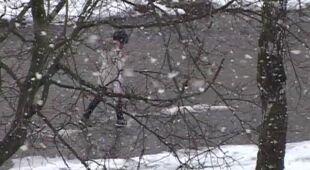 Śnieg wrócił na Mazury (TVN24)